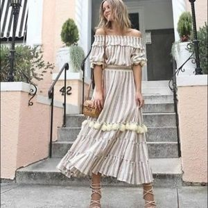 MISA Los Angeles Ava Dress Blush Tan Stripe